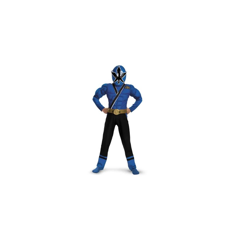 Lets Party By Disguise Inc Power Rangers Samurai   Blue Ranger Muscle Child Costume / Blue   Size Large (10/12)