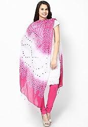 Soundarya Ethnicwear Pink White Cotton Bandhej Handwork Dupatta for Women (3035)
