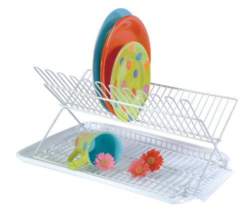 Better Houseware Item 34880 2-Piece Folding Dish Rack and Drain Board Set, White