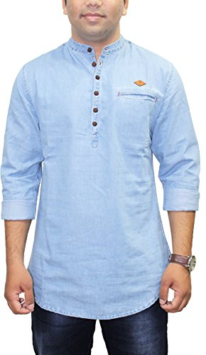 AA' Kuons Avenue Men's Icewash Silky Denim Long Sleeve Solid Casual Shirt