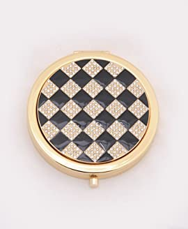 Swarovski Elements Round Gold Tone Compact Makeup Magnifying Mirror