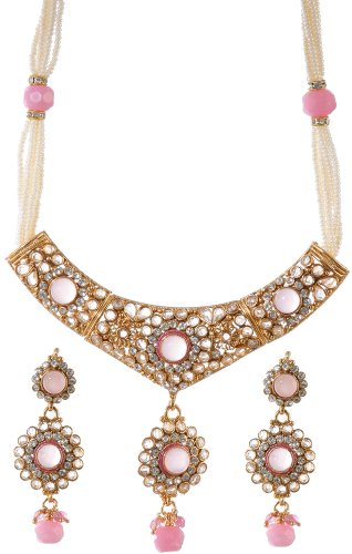 Pink Polki Necklace and Earrings Set with Faux Pearl - Copper Alloy with Cut Glass