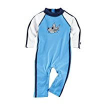 Coolibar UPF 50+ Baby Speed Racer One Piece - Sun Protection (6 - 12M - Surf Blue)