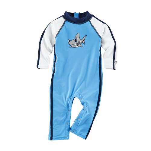 Coolibar Upf 50+ Baby Speed Racer One Piece - Sun Protection (12 - 18M - Surf Blue)