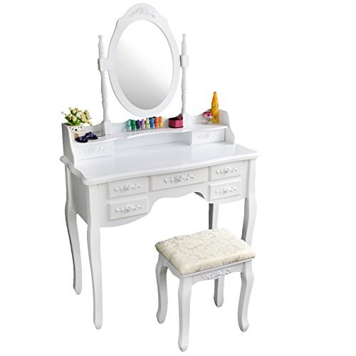 New Tribesigns Wood Makeup Vanity Table Set Dresser Desk with Stool and Mirror (1 Mirror + 7 Drawer)