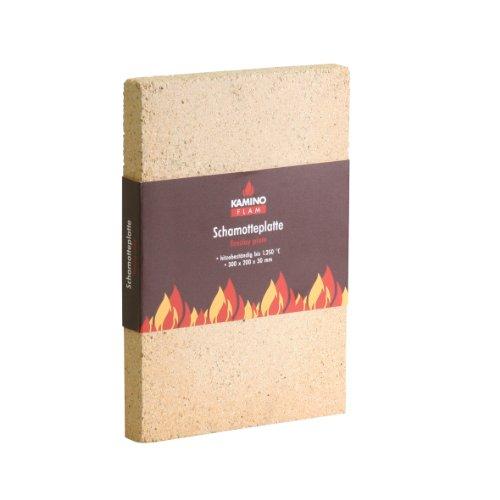 Schamotteplatte 333303, hitzebeständig bis 1250°C, zur Auskleidung von Kaminen, Schornsteinen und Brennkammern, Ofenplatten mit hoher Wärmespeicherfähigkeit, nicht brennbares Ofenaccessoire, 30 x 20 x 3 cm