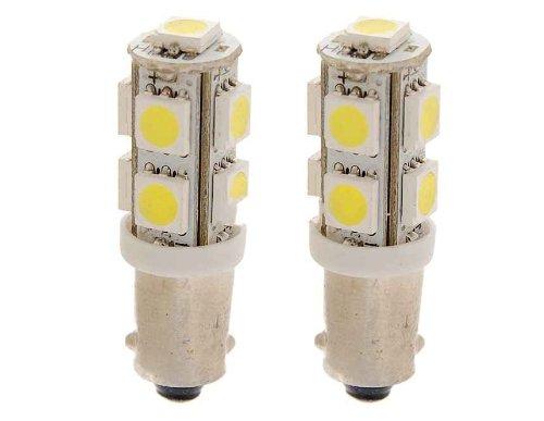 2Pcs 9 5050 Smd Led Light Bulb With Canbus (White)