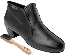 Very Fine Men\'s Salsa Ballroom Tango Latin Dance Shoes Style S407 Bundle with Dance Shoe Wire Brush, Black Leather 12.5 M US Heel 1.5 Inch
