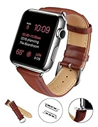 Apple Watch Band, LoHi 42mm Genuine Leather Replacement Watchband Strap Wrist Band Modern Buckle with Metal Clasp for Apple Watch & Sport & Edition All Models (42mm-Brown)