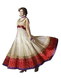Nirali Women's Net Unstitched Dress Material (NRLMR NO 1510_Beige)