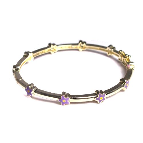 Purple and Yellow Enamel Flowers 18k Yellow Gold Plated Kids Infant Bangle Bracelet 40 mm