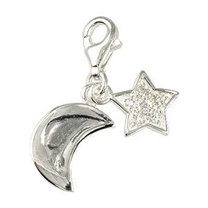 SiberDream Charms - Charm Lune et étoiles pour charmes colliers bracelets boucles d'oreilles - Argent 925 Sterling - FC228W