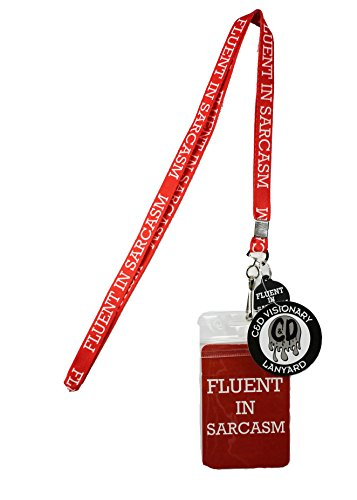 Lanyard with Charm Fluent Sarcasm Skinny Lanyard with Rubber Charm