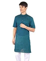 Rajubhai Hargovindas Teal Blue Cotton Kurta (Half Sleeve)
