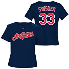 Nick Swisher Cleveland Indians Navy Ladies Player T-Shirt by Majestic Select Ladies...