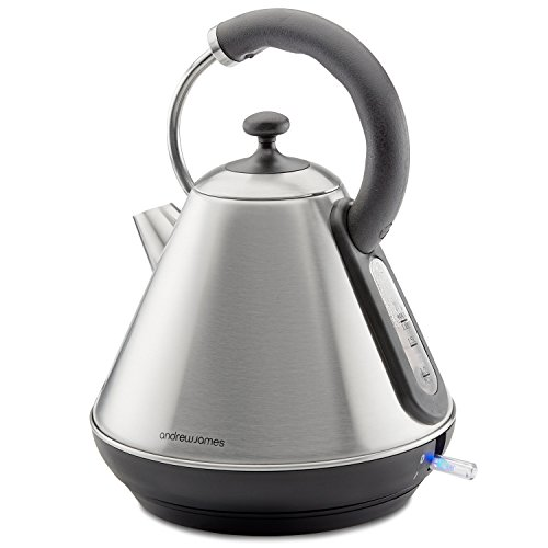 Andrew James Traditional Kettle, 3000W, 1.8L, Pyramid Jug In Silver Brushed Stainless Steel - With 2 Year Warranty
