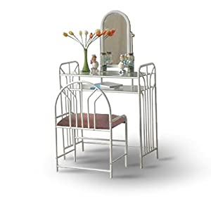 bedroom vanity set with bench two 2 glass shelves home kitchen