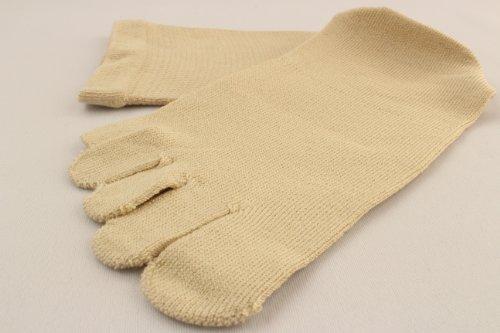 カタクラ 表糸シルク100%5本指ソックス 口ゴムゆったり アイボリー