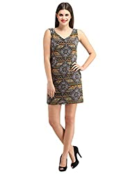 FashionVerb Graphic Print Black Brown Beige Georgette Night Party wear V Neck Sleeveless Short Mini length Bodycon One piece western dress for women