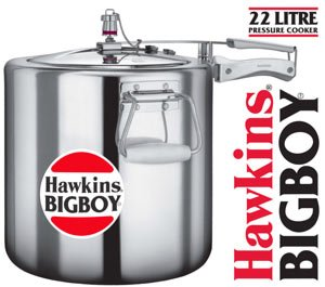 Hawkins Bigboy Aluminum 22 Litre Commercial Size Pressure Cooker with Separators and Grid to Cook Different Foods At the Same Time (Hawkins Big Boy Cooker compare prices)