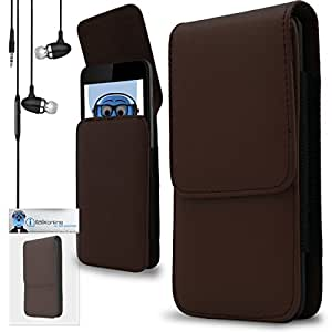 iTALKonline HTC Mozart Brown PREMIUM PU Leather Vertical Executive Side Pouch Case Cover Holster with Belt Loop Clip and Magnetic Closure Includes Brown Premium 3.5mm Aluminium High Quality In Ear Stereo Wired Headset Hands Free Headphones with Built in Mic Microphone and On Off Button