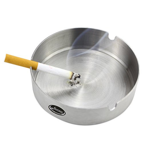 Ashtray, Newness Stainless Steel Tabletop Decoration Unbreakable Home Ashtray, 3.9 Inches (10 cm)