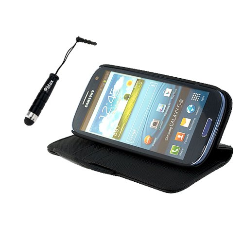 GTMax Black High Quality Leather Stand Case Cover with Credit Card Holder and Black Mini Stylus with 3.5mm Plug