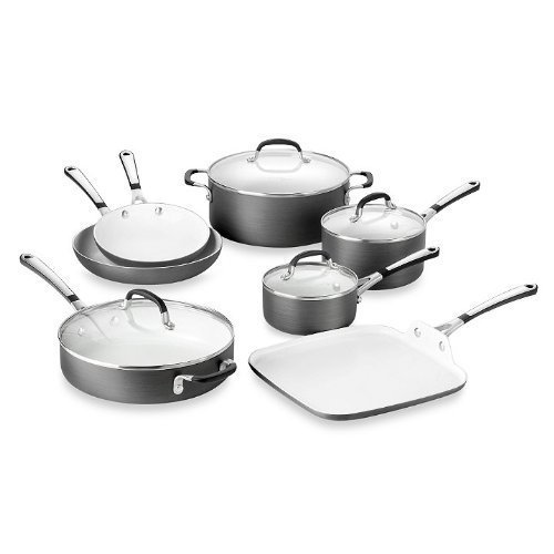 Simply Calphalon Ceramic Nonstick 11-Piece Cookware Set and Open Stock - PFOA- and PTFE-Free (Calphalon Cookware White compare prices)