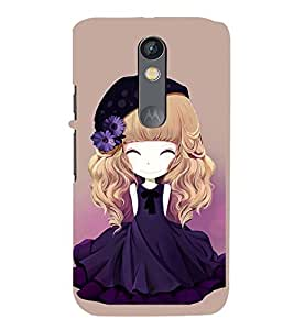 Printvisa Animated Girl With Blue Dress And Flowers In Hair Back Case Cover for Motorola Moto X Play