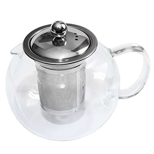 Glass Teapot By Kitchen Temptations - Microwavable 960ml Tea Kettle and Strainer With Stainless Steel Loose Leaf Infuser Rust-Free and Holds 3-4 cups (Microwavable Glass Pitcher compare prices)