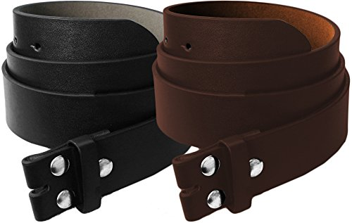 LUNA Real Leather Belt Strap, Thick & Wide - Large - Black/Brown - 2 Belts for $11.99