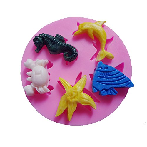 Funny Kitchen Baking Mold Tools Sea Lifes Dolphin Sea Fish Crab Starfish Hippocampus Shaped Cake Decorating Mold Chocolate Candy Making Mold Tools
