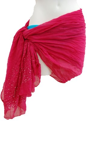 Tamari Pink Studded Crinkle Sarong Beach Cover Up Wrap Dress For Women One Size
