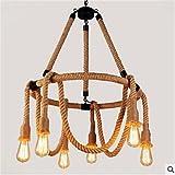 CJWDD Rural rétro industrielles de cordes lustre créatrice américaine restaurant et bar vêtements catalogue pendentifs décoratifs , 220-240v...