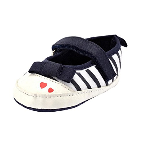 Kingko® Neonato Bambino Bambini Amore banda scarpe bowknot pattini del bambino morbida suola (12~18 mesi, Marina Militare)