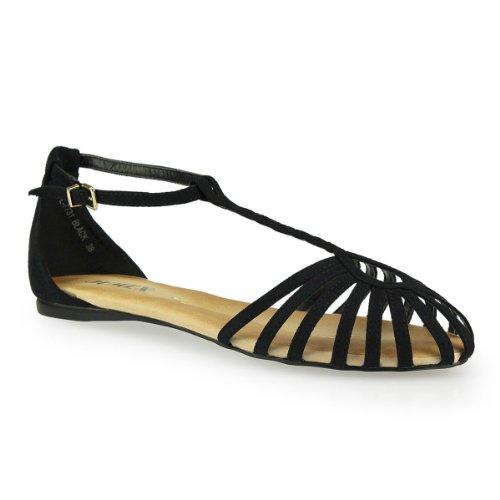 Damen Schaftsandaletten - Tauschen Sie Ihre Winterstiefel in sommerliche Sandalen mit antikem Charme schwarz 37