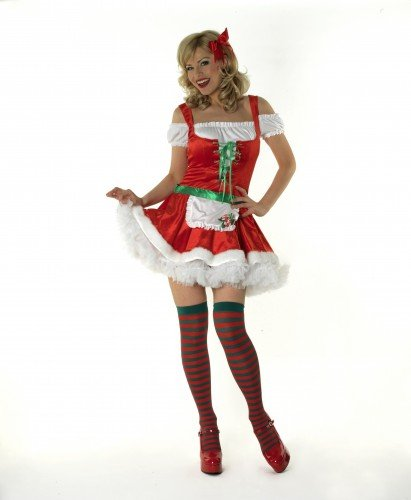 Ladies Santas Helper Christmas Fancy Dress Costume Womens Outfit Office Party ***Red Dress with Petticoat and Stockings*** UK 8-10