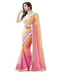 Drapme Bollywood Style Pink orange Georgette saree with Designer Blouse