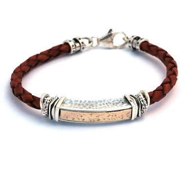 Red Leather Charm Bracelet for Men with Traveler's Prayer in Hebrew