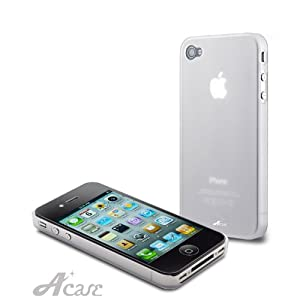 Acase(TM) Superleggera ice cube fit case for iPhone 4 with Screen Protector (Clear) AT&T Only