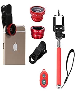 Iceberg makers.in Universal Selfie Stick With Bluetooth Remote & 3 in 1 Mobile Camera Lens