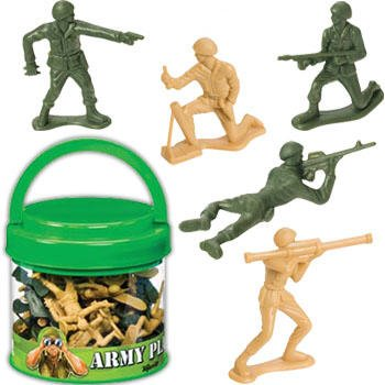 Buy Low Price Toysmith Army Soldiers Play Set in Easy to Carry Container with Lid Figure (B003YU0KDA)