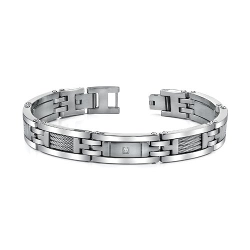 Revoni Mens Stainless Steel Bracelet with twisted cable highlight