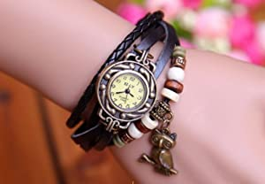Top Seller Newest Vintage Women Leather Quartz Owl Pendant Bead Bracelet Bangle Wrist Watch