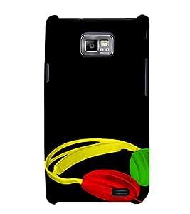 PrintVisa Colorful Headphones Music 3D Hard Polycarbonate Designer Back Case Cover for Samsung Galaxy S2