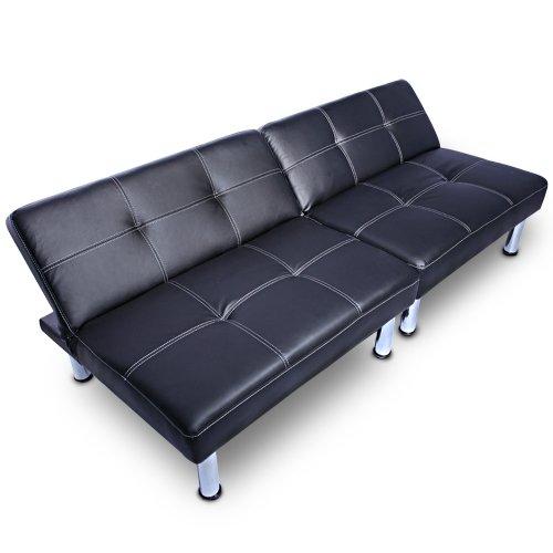 Jago canap lit canap convertible lits banquette clic clac divan fauteuil - Banquette simili cuir noir ...