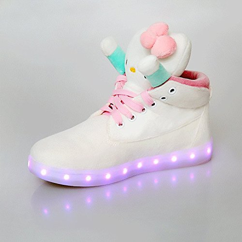 G-Small Women Lady Girls Children Fashionable Sweet Cute Parent-Child Glow Led Eight Colors Breathe Casual Flats Shoes-White-38