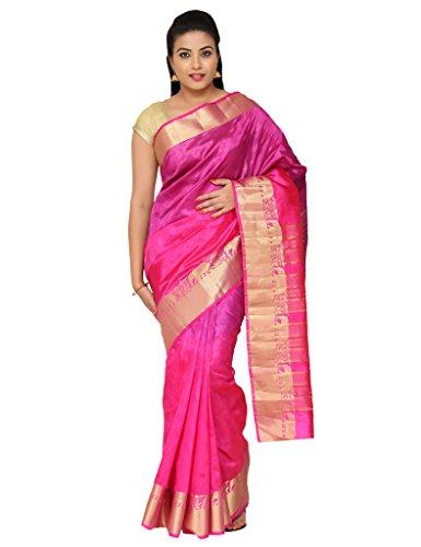 The Chennai Silks - Plain With Elephant Design Border Jute Silk Saree -Pattu Pink-(CCSW-448)