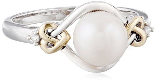S&G Sterling Silver and 14k Yellow Gold 8mm Freshwater Cultured Pearl and Diamond Ring (0.03 cttw, I-J Color, I3 Clarity), Size 9