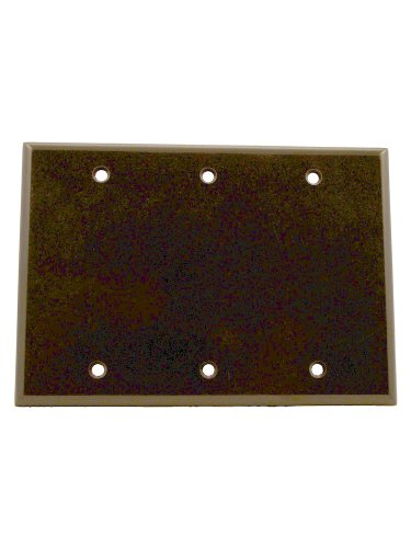 leviton-85033-3-gang-no-device-blank-wallplate-standard-size-thermoset-box-mount-brown-by-leviton